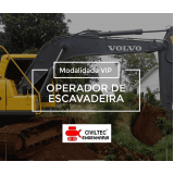 curso de operador de escavadeira hidráulica preços Vila Alzira